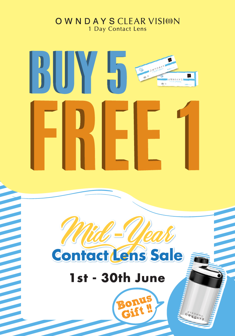 BUY 5 FREE 1 contact lens sale
